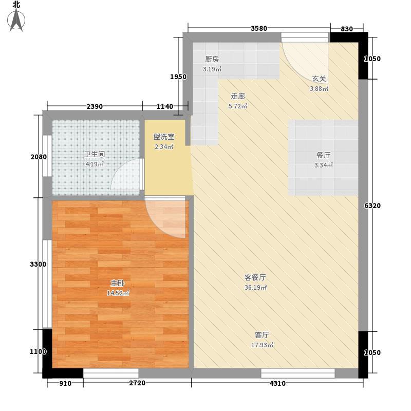 峰度59.28㎡V7户型1室2厅
