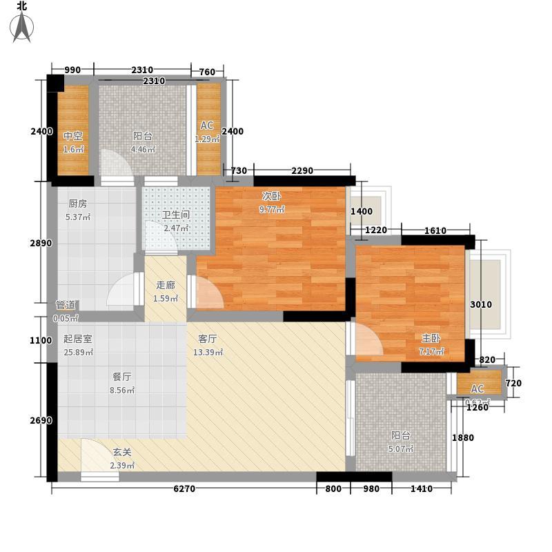 金悦湾80.23㎡一期1号楼标准层F户型