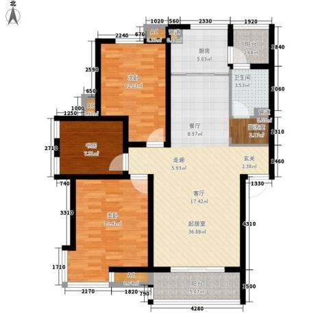 嘉业阳光假日3室0厅1卫1厨130.00㎡户型图