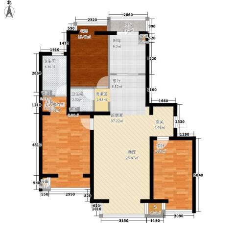 水木清华3室0厅2卫1厨127.00㎡户型图