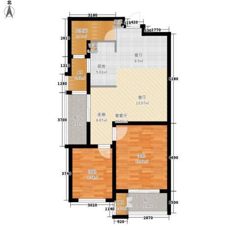 新创理想城2室1厅1卫0厨88.00㎡户型图