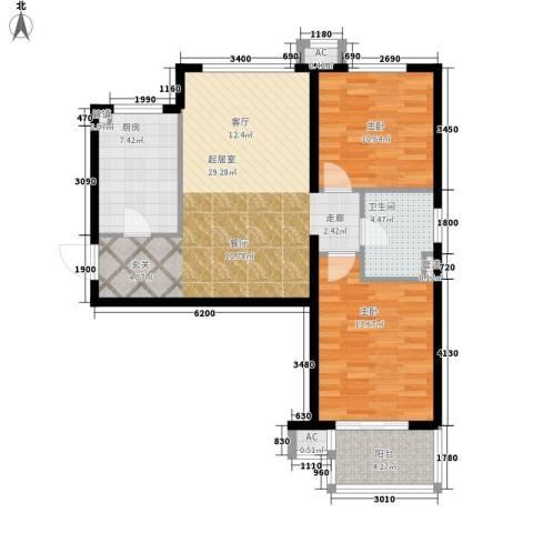 河风雅苑2室0厅1卫1厨81.00㎡户型图
