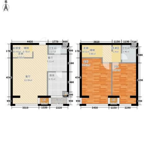 水木清华2室0厅2卫1厨102.00㎡户型图