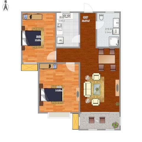 铭和苑柳翠坊2室1厅1卫1厨95.00㎡户型图