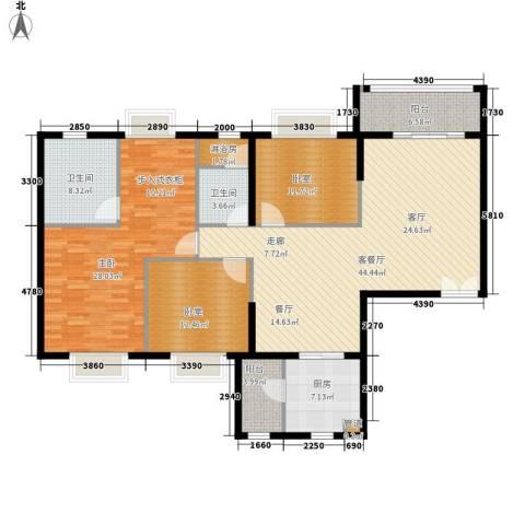 南国公馆1室1厅2卫1厨143.00㎡户型图
