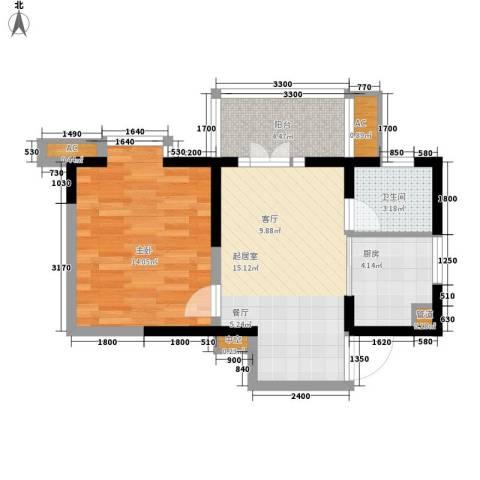 黄州宇济一号1室0厅1卫1厨54.00㎡户型图