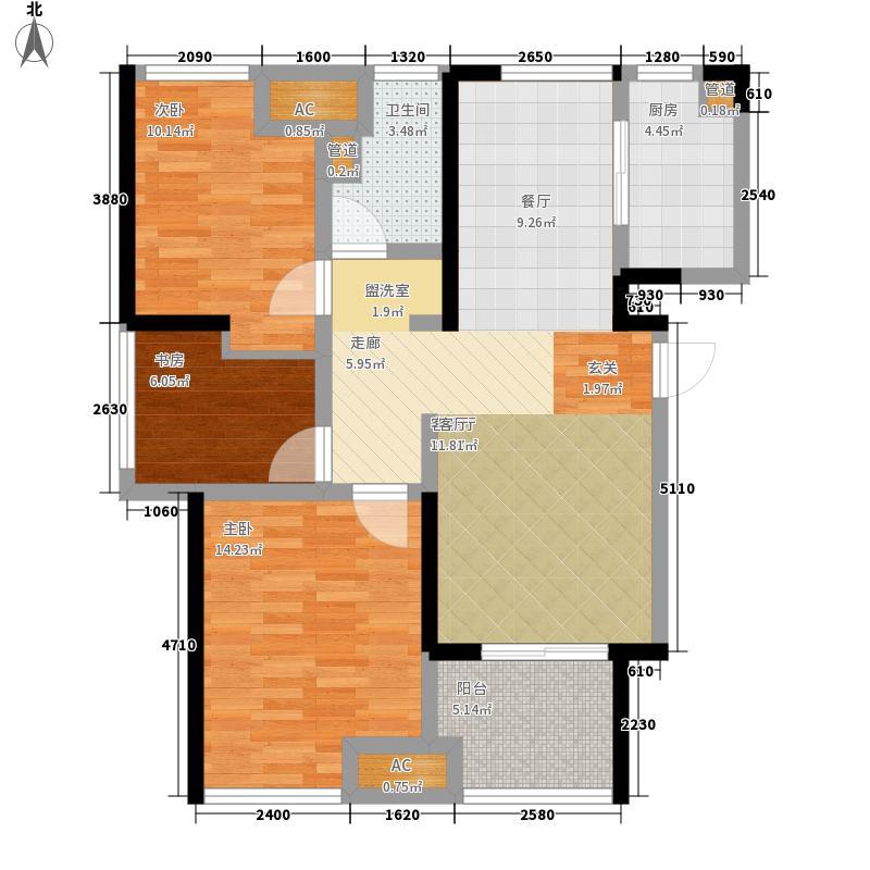 星光耀广场90.00㎡高层3#、8#等标准层B户型