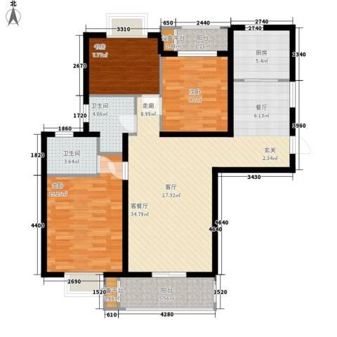 云河湾3室1厅2卫1厨115.00㎡户型图