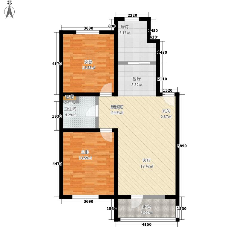 博文苑99.55㎡一期3号楼标准层A2-2户型