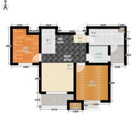 银丰唐郡・紫薇园2室1厅1卫1厨94.00㎡户型图