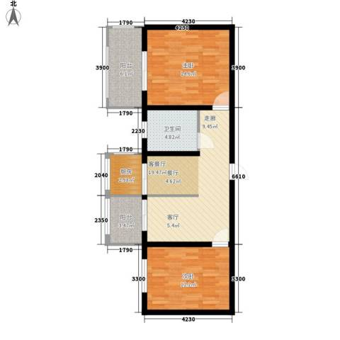 恒天第五座2室1厅1卫1厨88.00㎡户型图