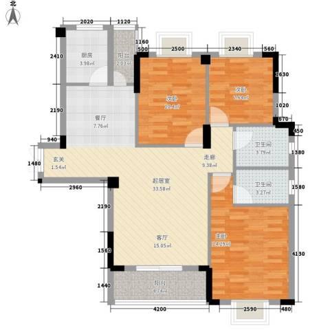 路安花苑3室0厅2卫1厨111.00㎡户型图