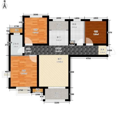 银丰唐郡・紫薇园3室1厅1卫1厨112.00㎡户型图