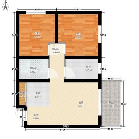 恒天第五座2室1厅1卫1厨75.00㎡户型图