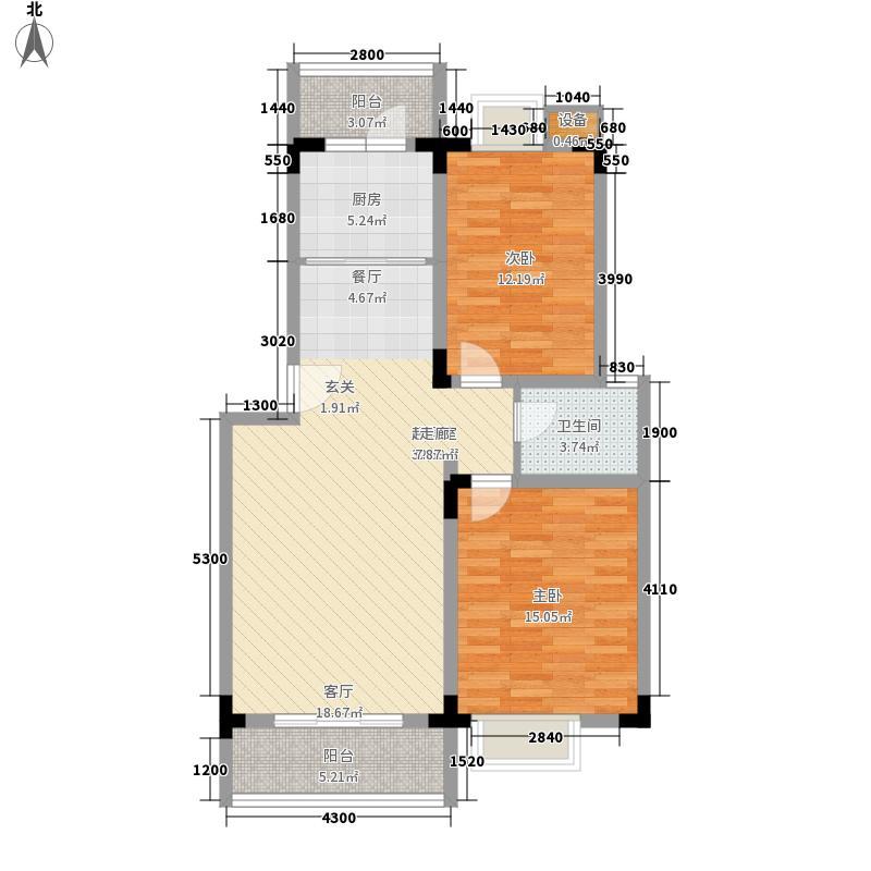 宏业康馨园89.11㎡户型2室2厅1卫1厨