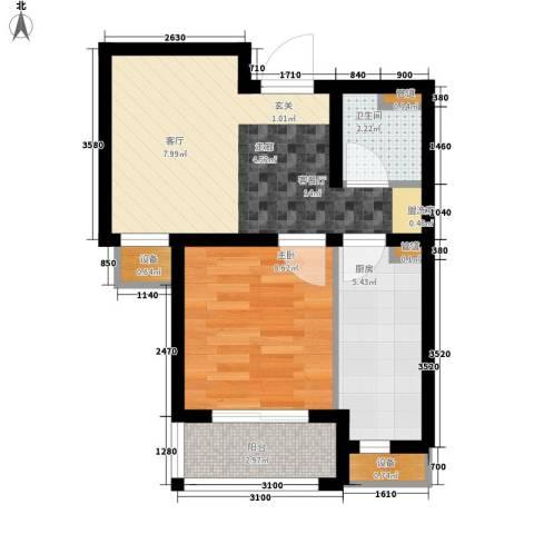 银丰唐郡・紫薇园1室1厅1卫1厨53.00㎡户型图
