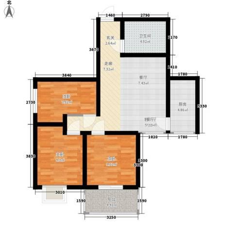 恒天第五座3室1厅1卫1厨100.00㎡户型图