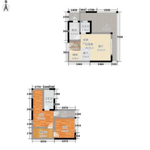 金阳牛津街小区2室0厅2卫1厨90.30㎡户型图