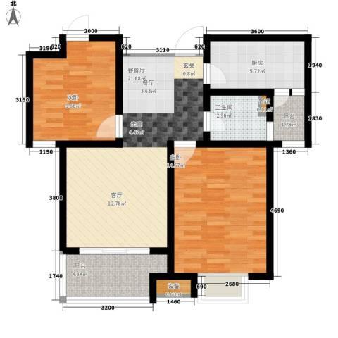 银丰唐郡・紫薇园2室1厅1卫1厨88.00㎡户型图