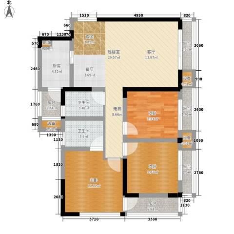 金阳牛津街小区3室0厅2卫1厨89.00㎡户型图