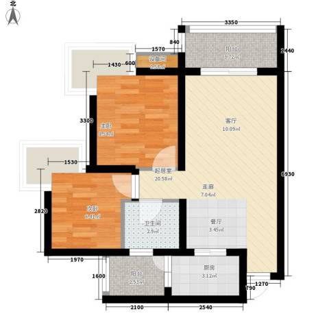 蓝色星空2室0厅1卫1厨69.00㎡户型图