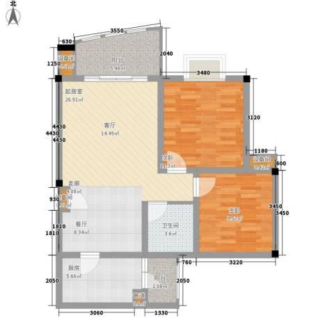 天工琴露园2室0厅1卫1厨95.00㎡户型图