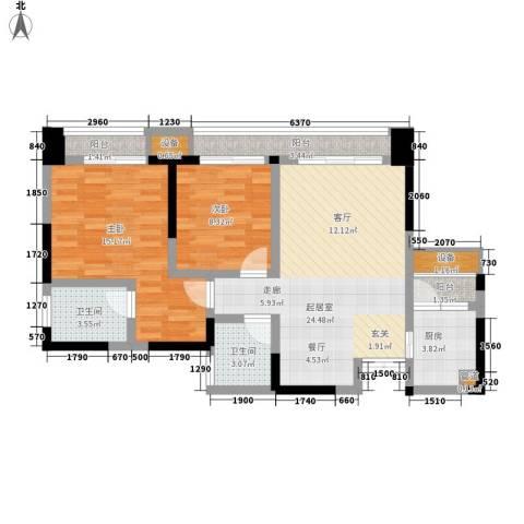 金阳牛津街小区2室0厅2卫1厨72.00㎡户型图