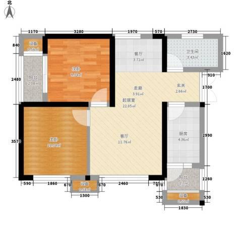 金阳牛津街小区2室0厅1卫1厨58.00㎡户型图