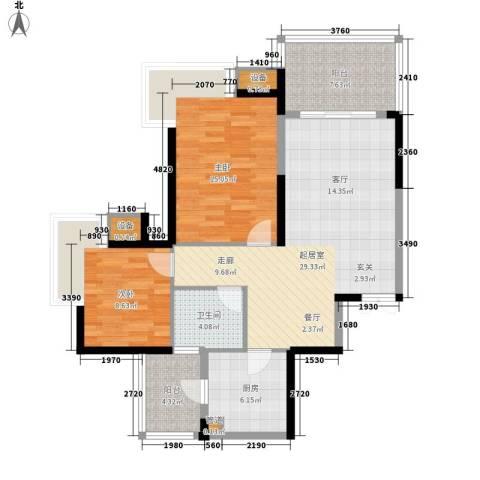 劲力五星城2室0厅1卫1厨76.80㎡户型图