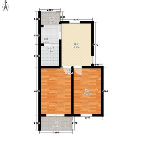 吉祥家园2室1厅1卫1厨75.00㎡户型图