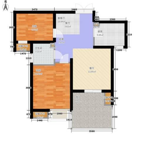 长安壹品2室1厅1卫1厨92.00㎡户型图