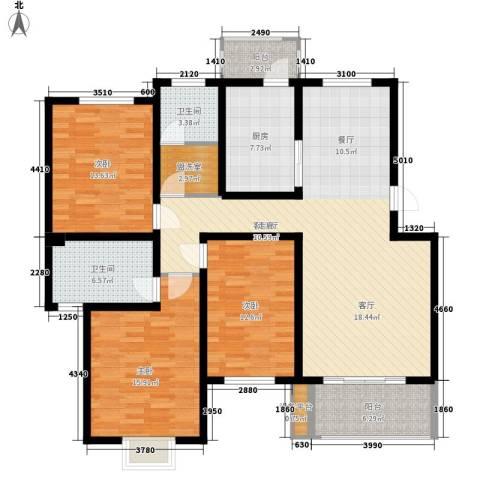 V特区3室1厅2卫1厨128.00㎡户型图