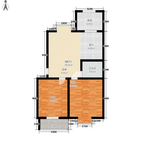 V特区2室1厅1卫1厨89.00㎡户型图
