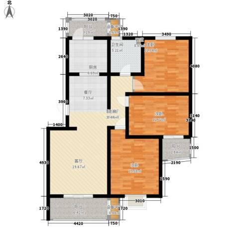 V特区3室1厅1卫1厨116.00㎡户型图