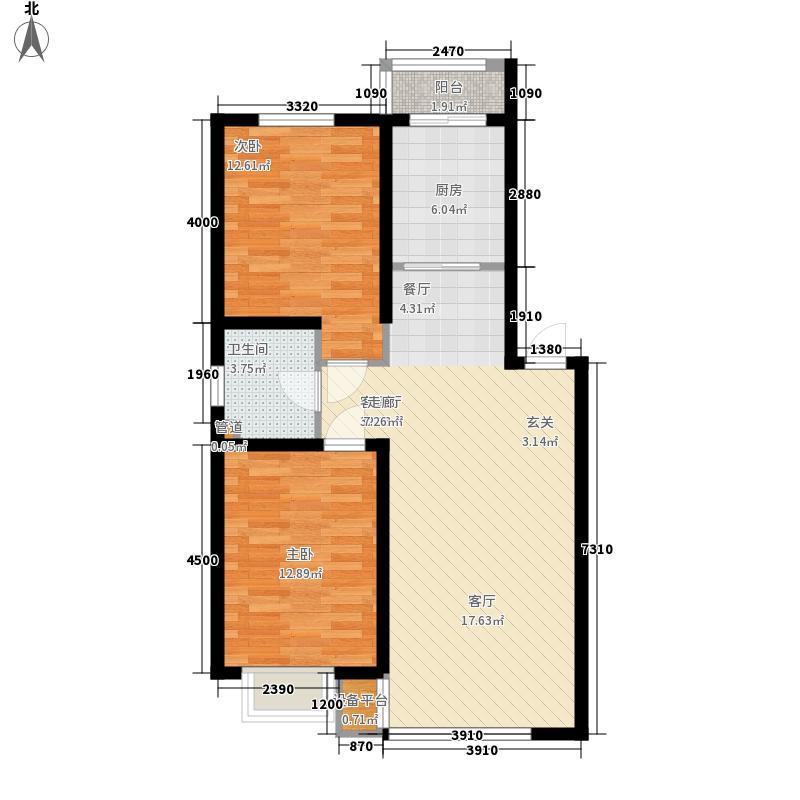 B户型 两室两厅一卫 建筑面积约82-95㎡