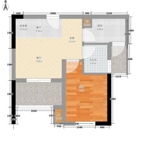 天诚康桥1室0厅1卫1厨50.00㎡户型图