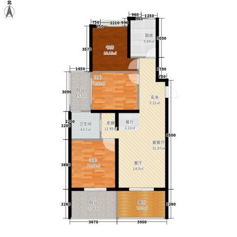新中国际3室1厅1卫1厨107.00㎡户型图