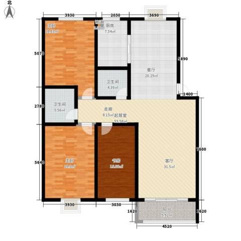 楚天书香门第3室0厅2卫1厨154.00㎡户型图