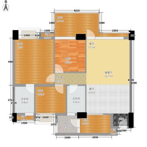 怡丰翠云轩2室1厅2卫1厨129.00㎡户型图