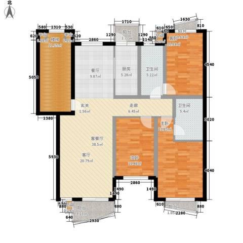 蓝天花园3室1厅2卫1厨156.00㎡户型图