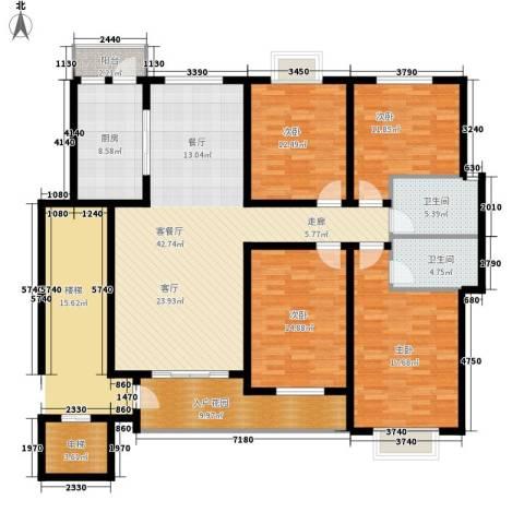 紫光华庭・丽华苑4室1厅2卫1厨170.00㎡户型图