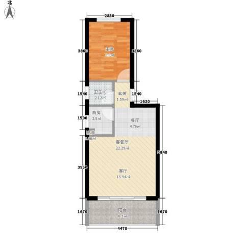 蓝天花园1室1厅1卫1厨49.00㎡户型图