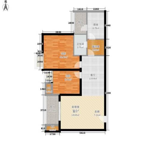 新港名都花园2室0厅1卫1厨116.00㎡户型图