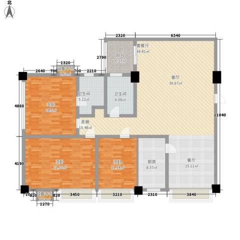 金城花园3室1厅2卫1厨163.00㎡户型图