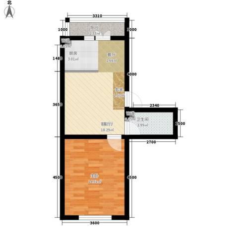 馨丽康城1室1厅1卫0厨54.00㎡户型图