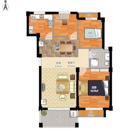 维科城市桃源3室1厅1卫1厨111.00㎡户型图