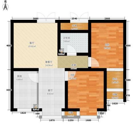 新领地2室1厅1卫1厨87.00㎡户型图