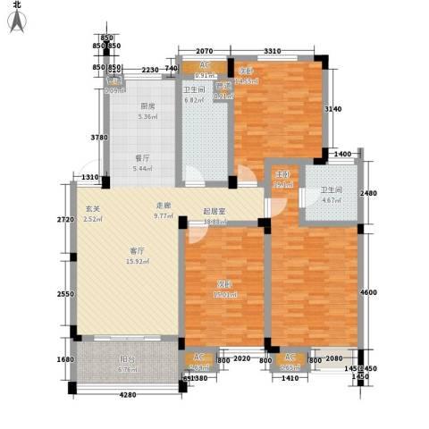 嘉业阳光假日3室0厅2卫0厨123.00㎡户型图