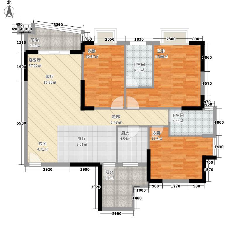 莱斯豪苑121.39㎡莱斯豪苑A户型E-楚莱轩121.39㎡户型10室