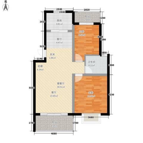蓝天花园2室1厅1卫1厨81.00㎡户型图